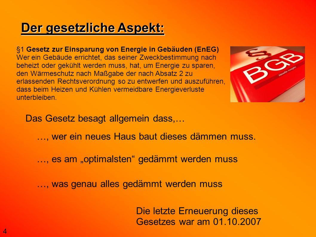 Der gesetzliche Aspekt: §1 Gesetz zur Einsparung von Energie in Gebäuden (EnEG) Wer ein Gebäude errichtet, das seiner Zweckbestimmung nach beheizt ode