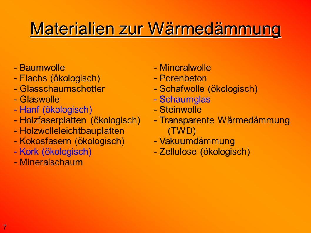 Materialien zur Wärmedämmung 7 - Baumwolle - Flachs (ökologisch) - Glasschaumschotter - Glaswolle - Hanf (ökologisch) - Holzfaserplatten (ökologisch)