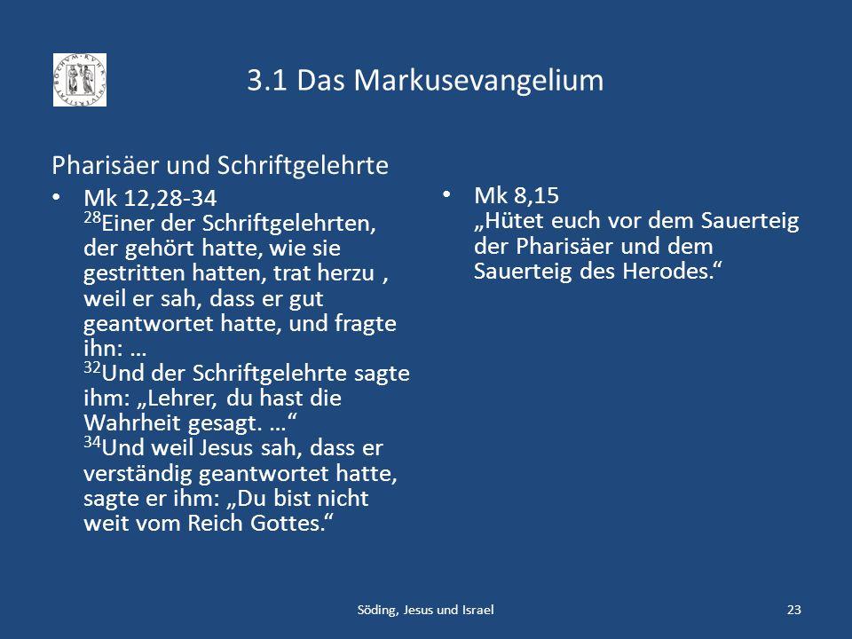 3.1 Das Markusevangelium Pharisäer und Schriftgelehrte Mk 12,28-34 28 Einer der Schriftgelehrten, der gehört hatte, wie sie gestritten hatten, trat he