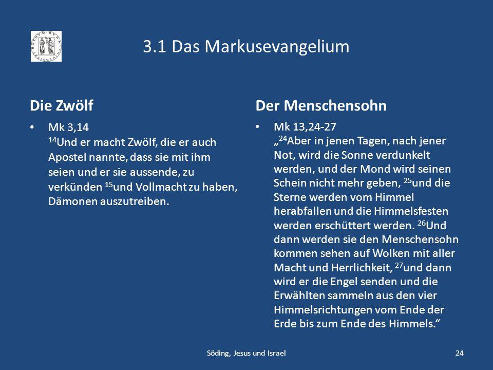 3.1 Das Markusevangelium Die Zwölf Mk 3,14 14 Und er macht Zwölf, die er auch Apostel nannte, dass sie mit ihm seien und er sie aussende, zu verkünden