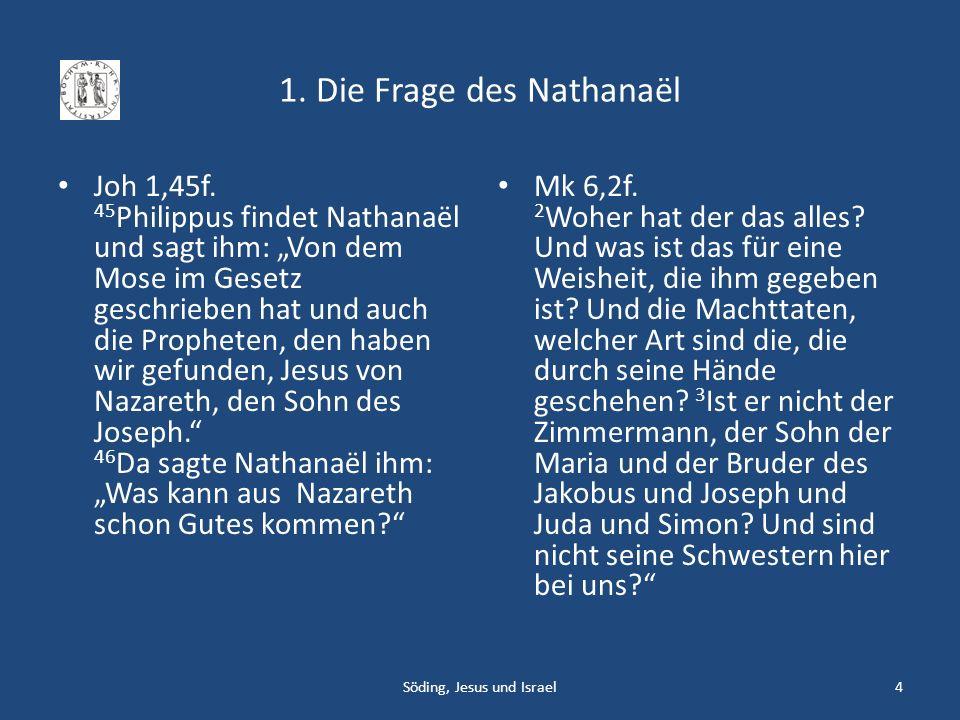 3.1 Das Markusevangelium Mk 1,21 Sie gingen nach Kapharnaum, und sofort ging er am Sabbat in die Synagoge, um zu lehren.
