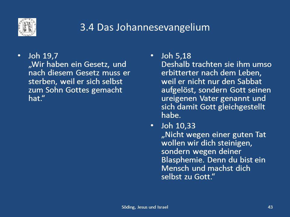 3.4 Das Johannesevangelium Joh 19,7 Wir haben ein Gesetz, und nach diesem Gesetz muss er sterben, weil er sich selbst zum Sohn Gottes gemacht hat. Joh