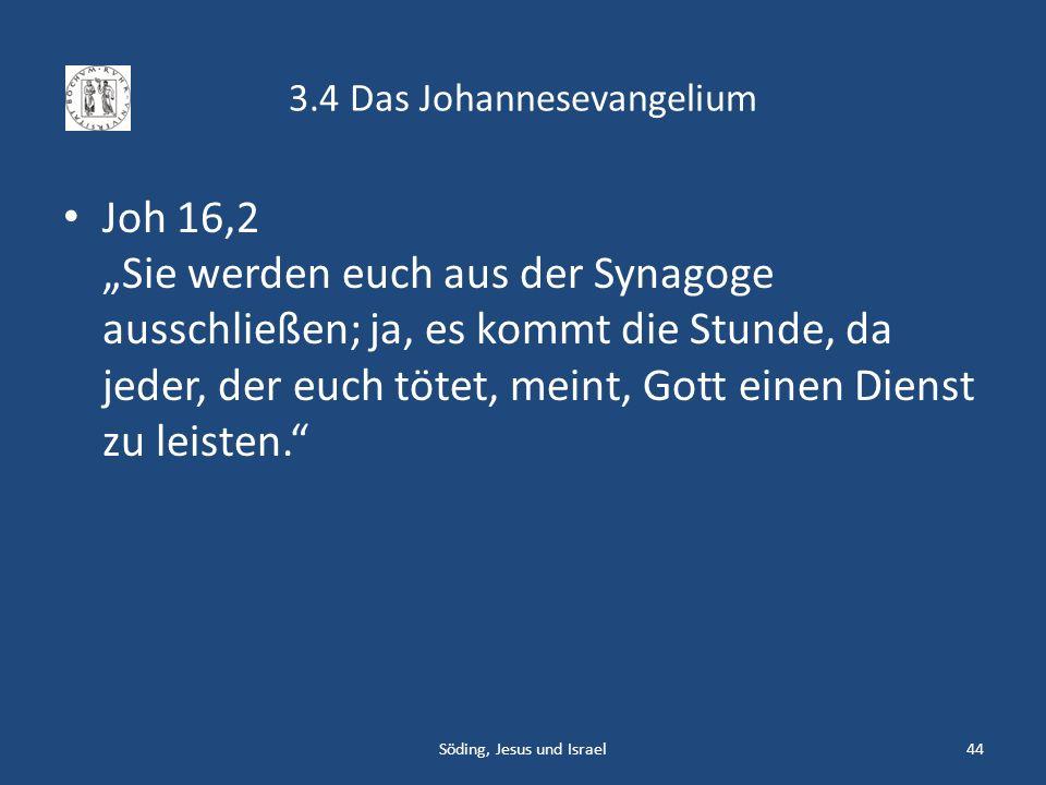 3.4 Das Johannesevangelium Joh 16,2 Sie werden euch aus der Synagoge ausschließen; ja, es kommt die Stunde, da jeder, der euch tötet, meint, Gott eine