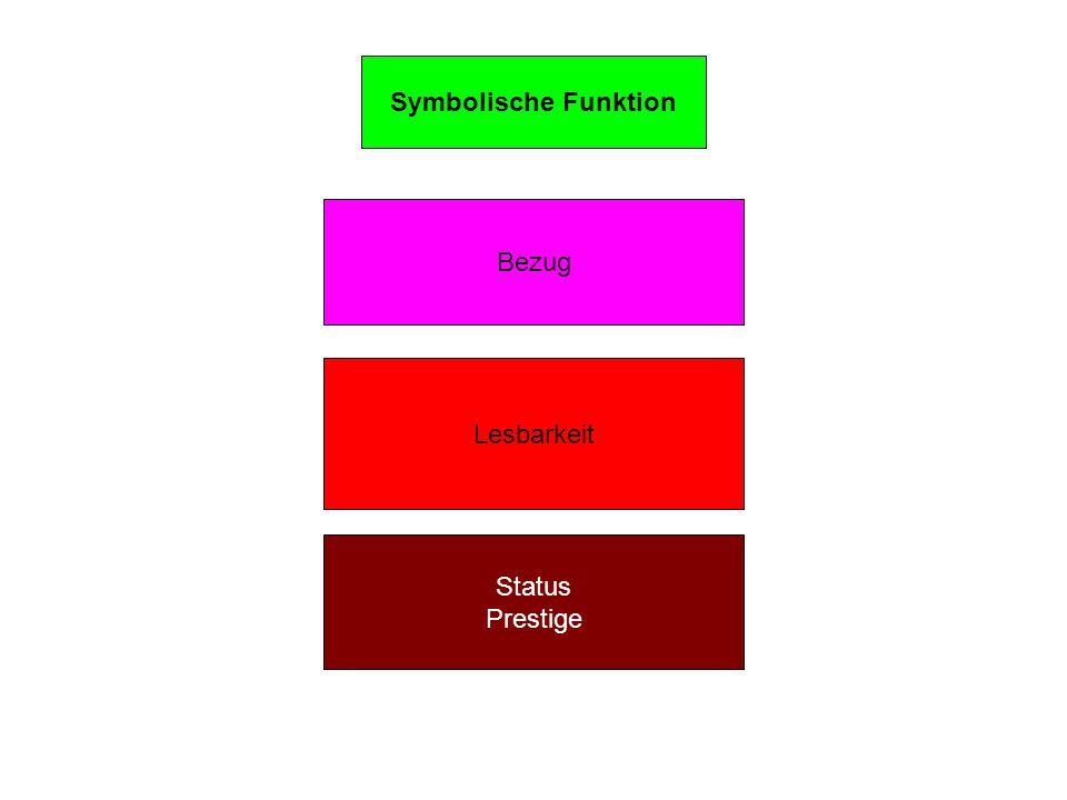 Symbolische Funktion Status Prestige Lesbarkeit Bezug