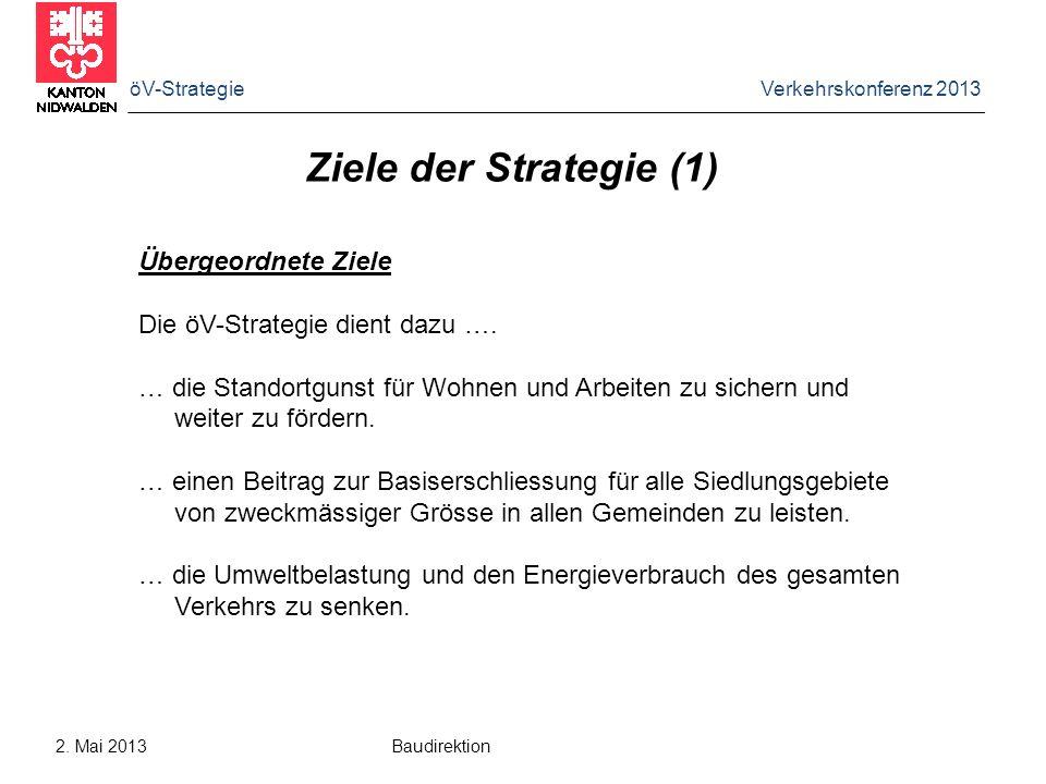 öV-Strategie Verkehrskonferenz 2013 2. Mai 2013 Baudirektion Ziele der Strategie (1) Übergeordnete Ziele Die öV-Strategie dient dazu …. … die Standort