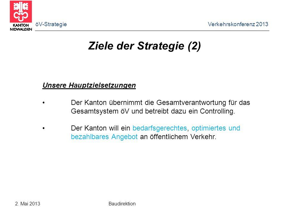öV-Strategie Verkehrskonferenz 2013 2. Mai 2013 Baudirektion Ziele der Strategie (2) Unsere Hauptzielsetzungen Der Kanton übernimmt die Gesamtverantwo