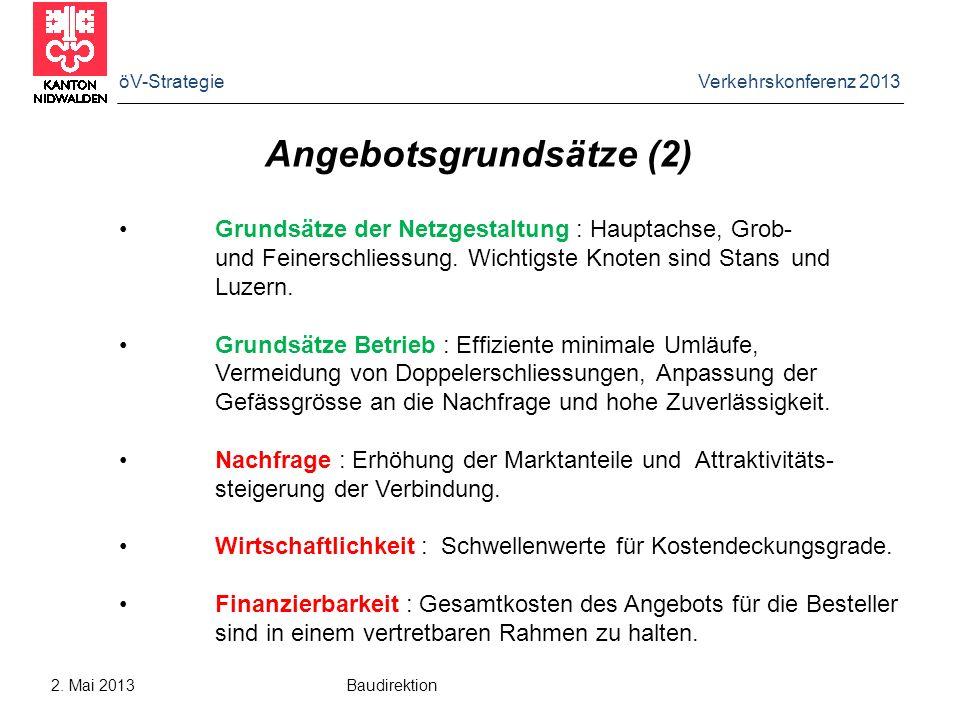 öV-Strategie Verkehrskonferenz 2013 2. Mai 2013 Baudirektion Angebotsgrundsätze (2) Grundsätze der Netzgestaltung : Hauptachse, Grob- und Feinerschlie