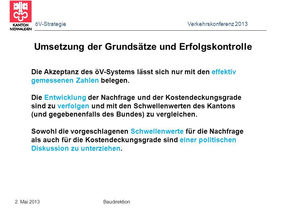 öV-Strategie Verkehrskonferenz 2013 2. Mai 2013 Baudirektion Umsetzung der Grundsätze und Erfolgskontrolle Die Akzeptanz des öV-Systems lässt sich nur