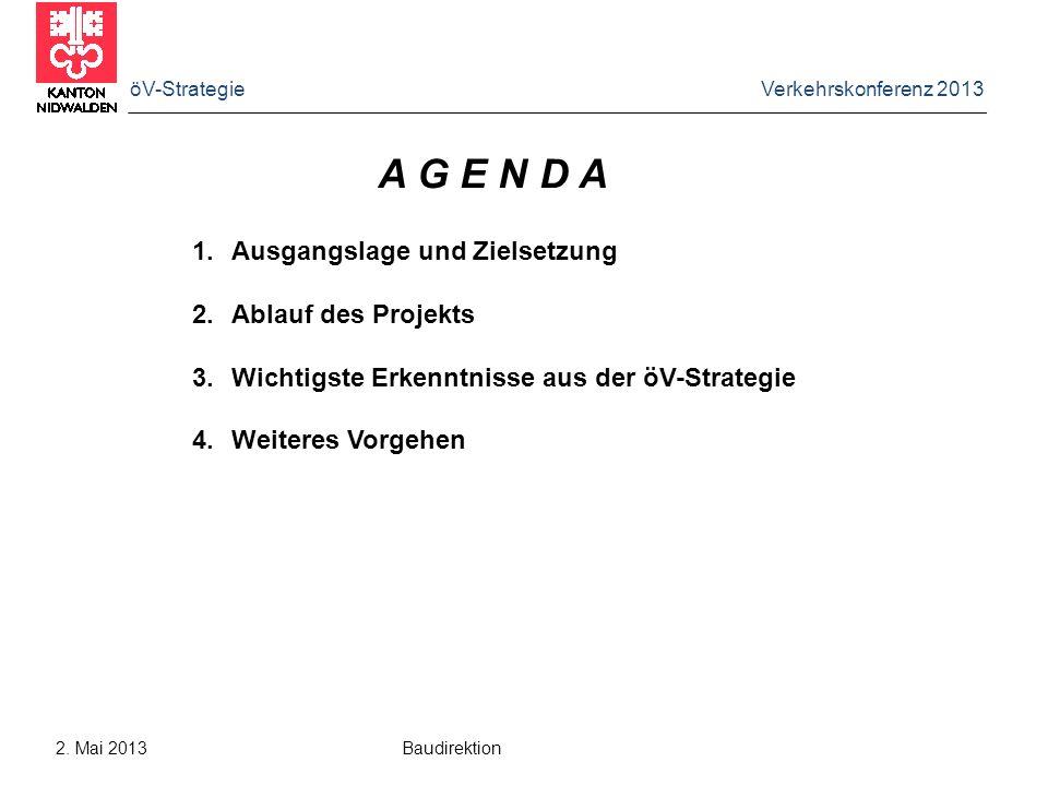 öV-Strategie Verkehrskonferenz 2013 2. Mai 2013 Baudirektion A G E N D A 1.Ausgangslage und Zielsetzung 2.Ablauf des Projekts 3.Wichtigste Erkenntniss