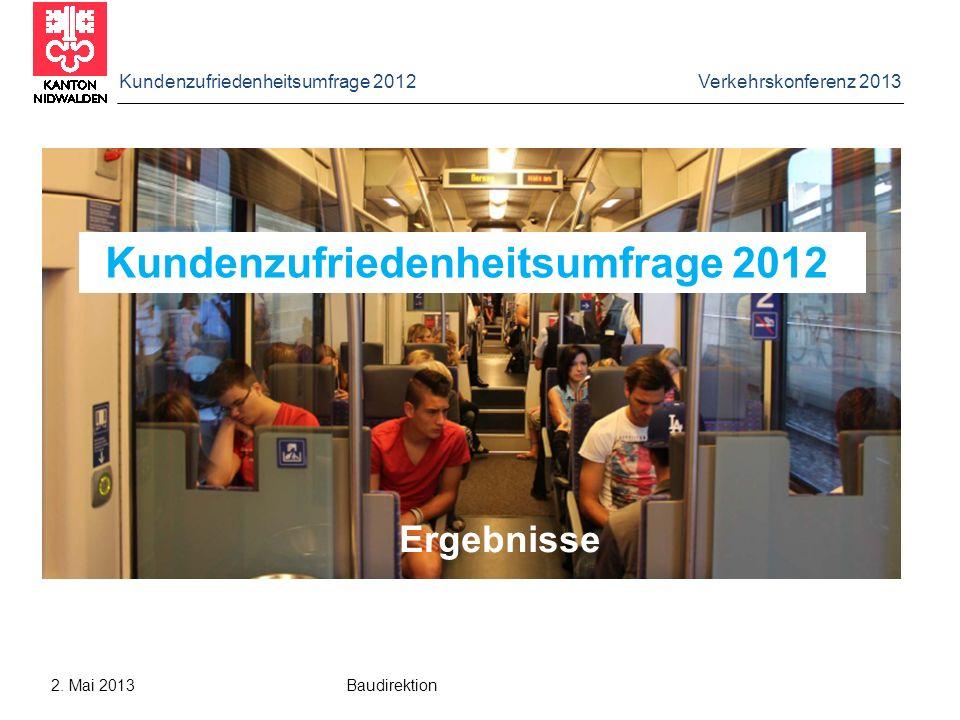 Kundenzufriedenheitsumfrage 2012 Verkehrskonferenz 2013 2. Mai 2013 Baudirektion Kundenzufriedenheitsumfrage 2012 Ergebnisse