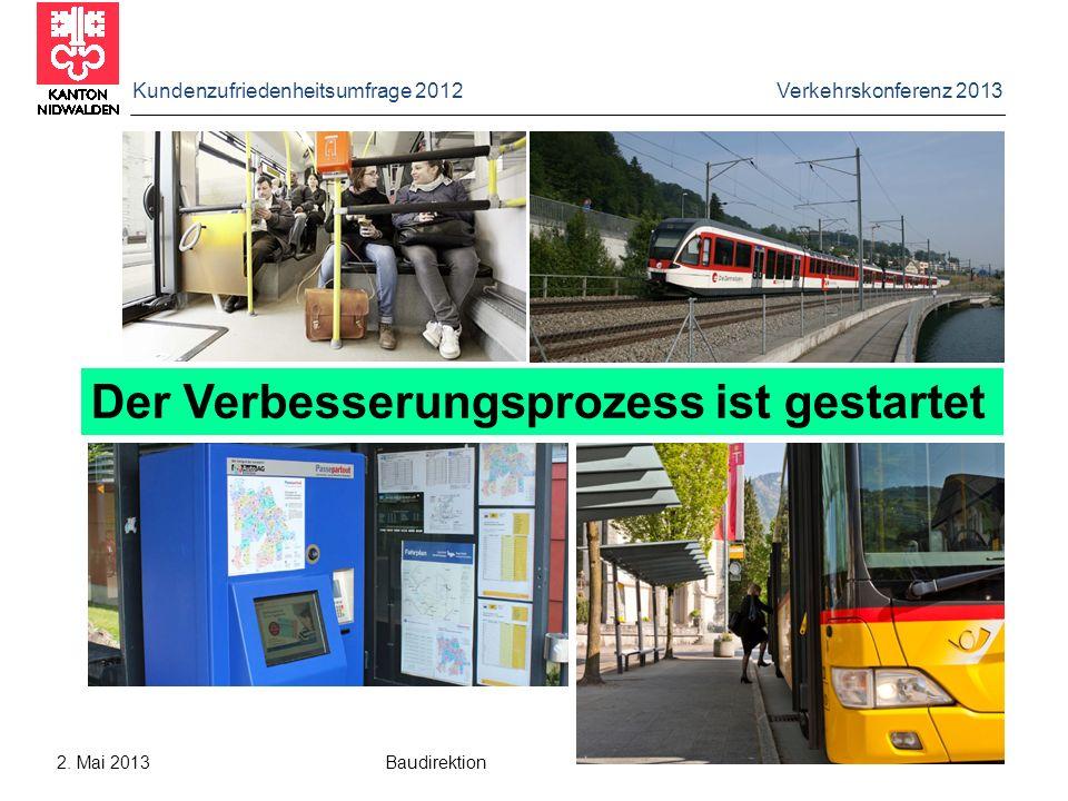 Kundenzufriedenheitsumfrage 2012 Verkehrskonferenz 2013 2. Mai 2013 Baudirektion Der Verbesserungsprozess ist gestartet
