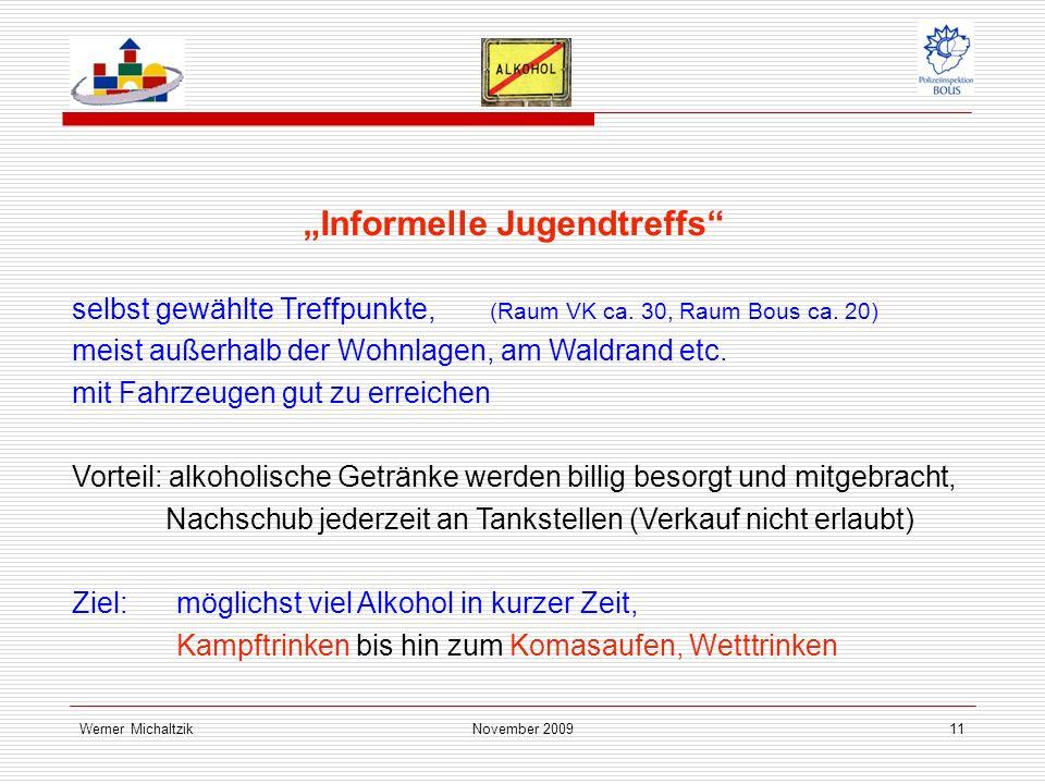 Werner MichaltzikNovember 200911 Informelle Jugendtreffs selbst gewählte Treffpunkte, (Raum VK ca.
