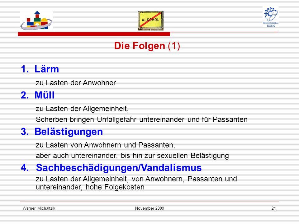 Werner MichaltzikNovember 200921 Die Folgen (1) 1.