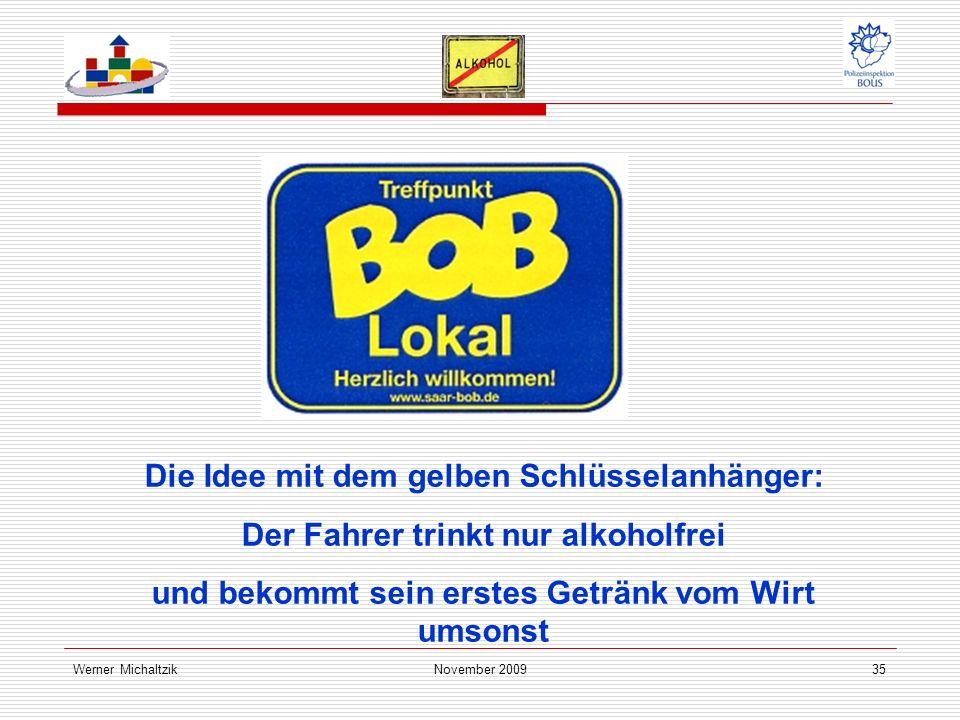 Werner MichaltzikNovember 200935 Die Idee mit dem gelben Schlüsselanhänger: Der Fahrer trinkt nur alkoholfrei und bekommt sein erstes Getränk vom Wirt umsonst
