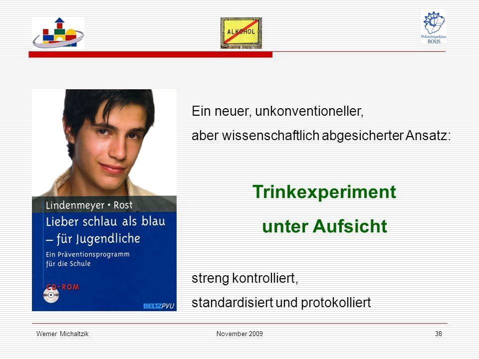 Werner MichaltzikNovember 200938 Ein neuer, unkonventioneller, aber wissenschaftlich abgesicherter Ansatz: Trinkexperiment unter Aufsicht streng kontrolliert, standardisiert und protokolliert