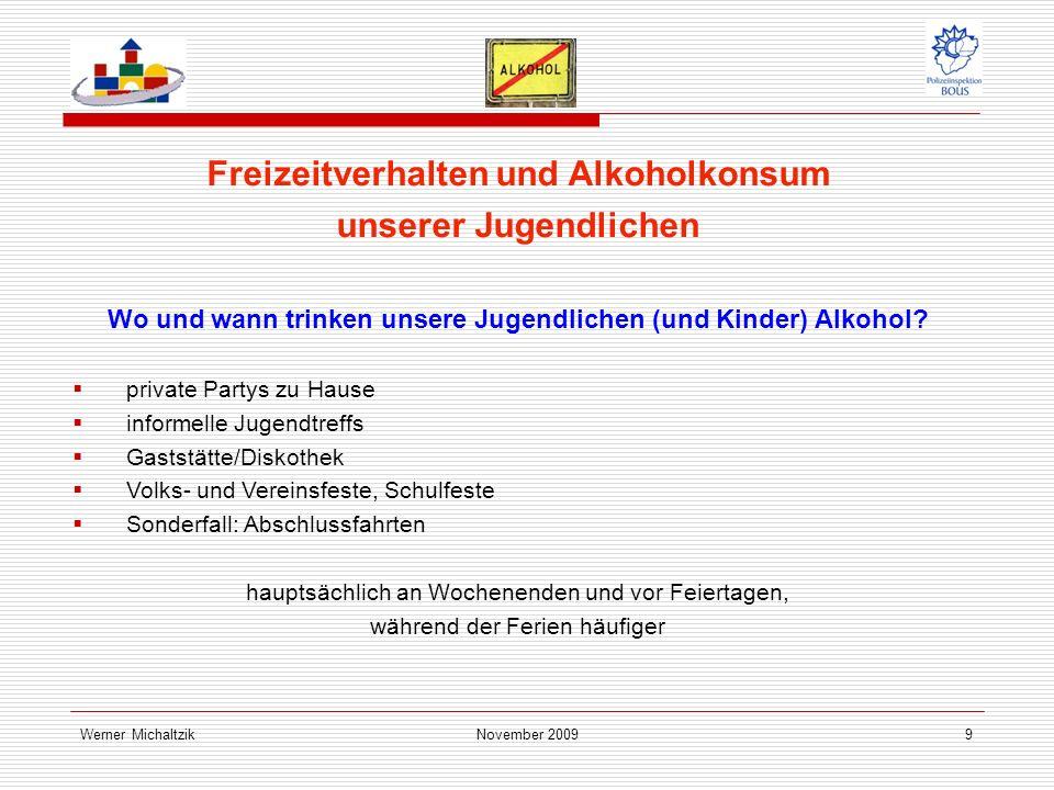 Werner MichaltzikNovember 20099 Freizeitverhalten und Alkoholkonsum unserer Jugendlichen Wo und wann trinken unsere Jugendlichen (und Kinder) Alkohol.
