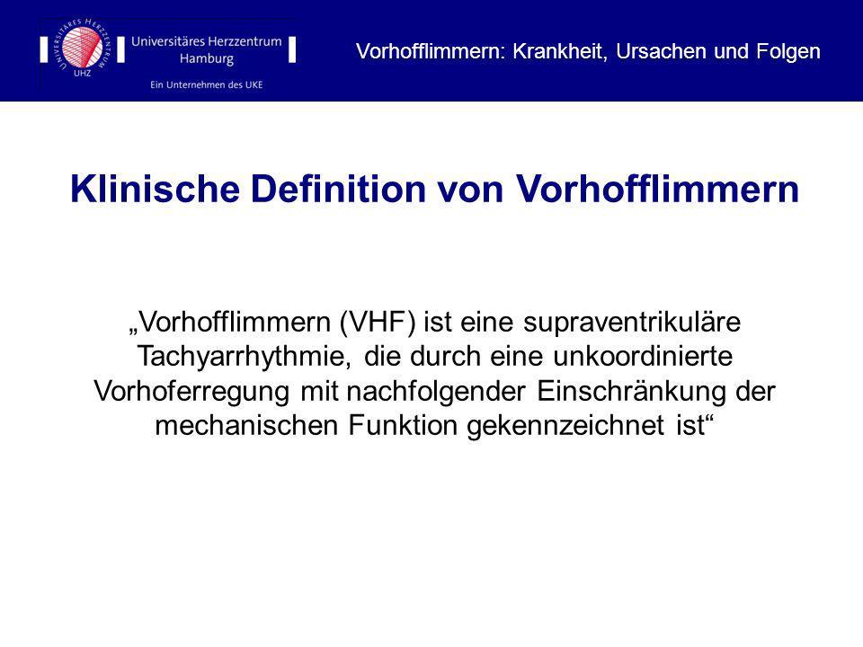 Vorhofflimmern: Krankheit, Ursachen und Folgen Klinische Definition von Vorhofflimmern Vorhofflimmern (VHF) ist eine supraventrikuläre Tachyarrhythmie