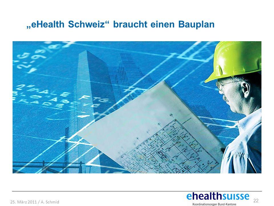 22 25. März 2011 / A. Schmid eHealth Schweiz braucht einen Bauplan