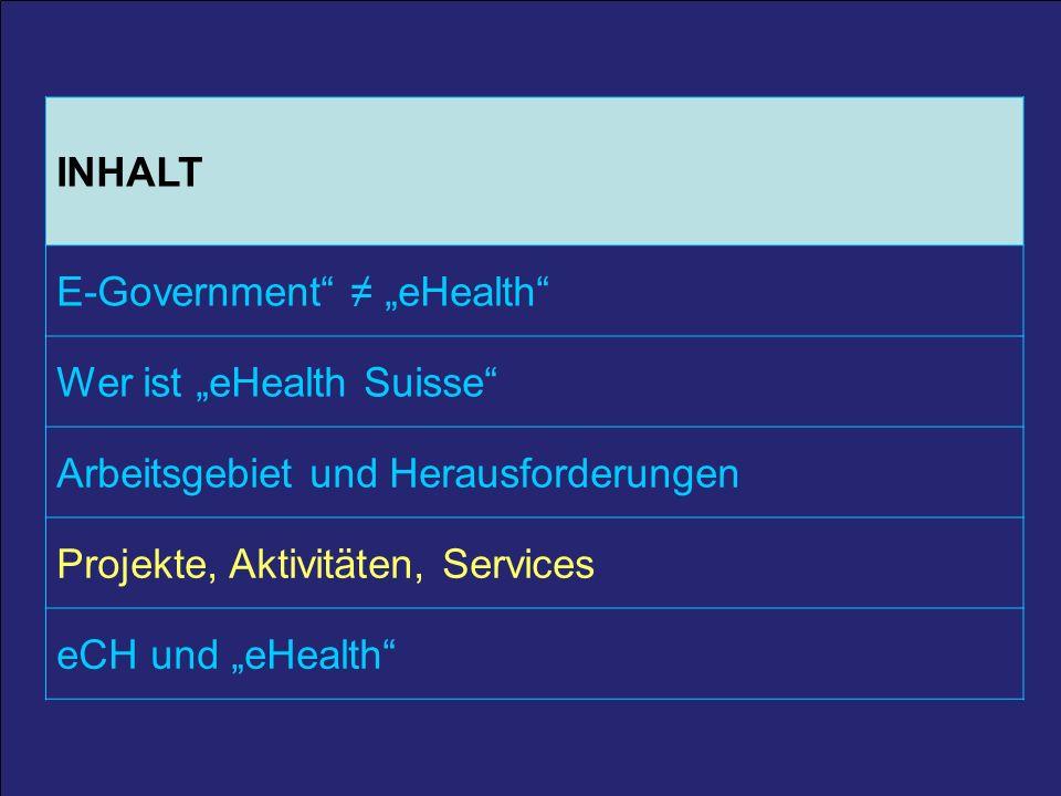 29 25. März 2011 / A. Schmid 29 INHALT E-Government eHealth Wer ist eHealth Suisse Arbeitsgebiet und Herausforderungen Projekte, Aktivitäten, Services