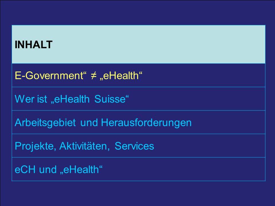 3 25. März 2011 / A. Schmid 3 INHALT E-Government eHealth Wer ist eHealth Suisse Arbeitsgebiet und Herausforderungen Projekte, Aktivitäten, Services e
