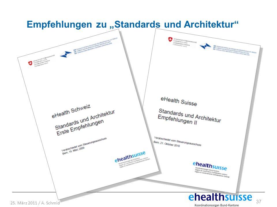 37 25. März 2011 / A. Schmid Empfehlungen zu Standards und Architektur