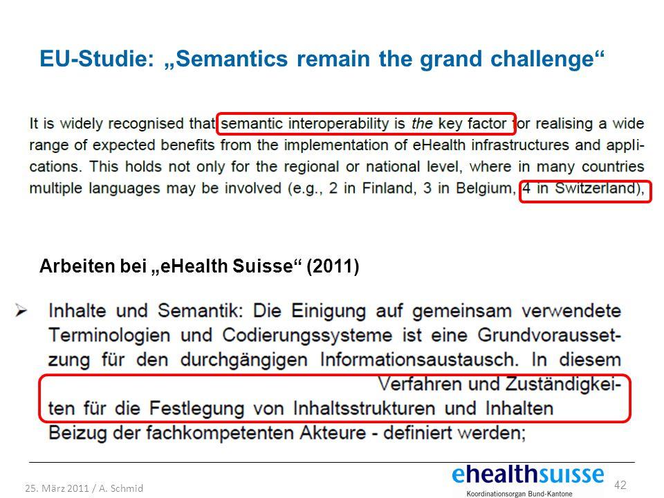 42 25. März 2011 / A. Schmid EU-Studie: Semantics remain the grand challenge Arbeiten bei eHealth Suisse (2011)