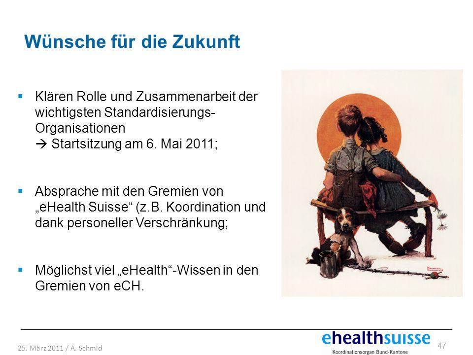47 25. März 2011 / A. Schmid Wünsche für die Zukunft Klären Rolle und Zusammenarbeit der wichtigsten Standardisierungs- Organisationen Startsitzung am