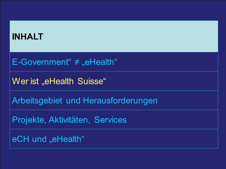 6 25. März 2011 / A. Schmid 6 INHALT E-Government eHealth Wer ist eHealth Suisse Arbeitsgebiet und Herausforderungen Projekte, Aktivitäten, Services e