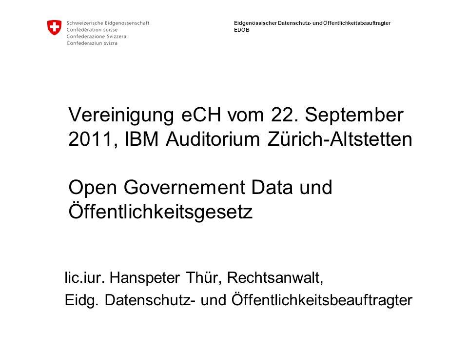 Eidgenössischer Datenschutz- und Öffentlichkeitsbeauftragter EDÖB Vereinigung eCH vom 22.