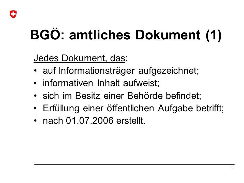 5 BGÖ : amtliches Dokument (2) Keine amtlichen Dokumente, wenn: kommerziell genutzte Dokumente; zum persönlichen Gebrauch bestimmte Dokumente; nicht fertig gestellte Dokumente.