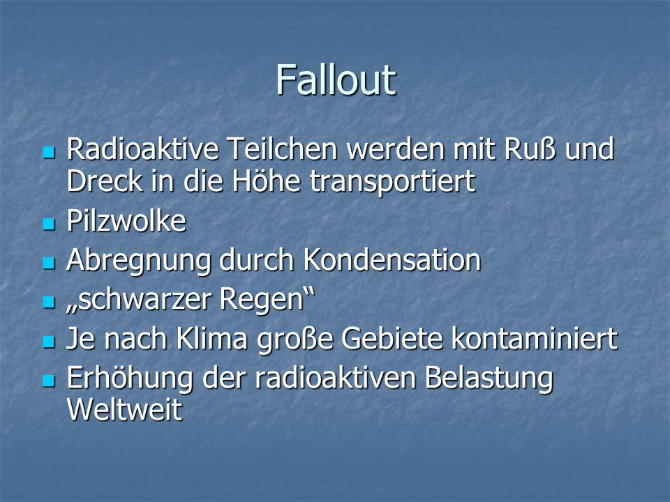 Fallout Radioaktive Teilchen werden mit Ruß und Dreck in die Höhe transportiert Radioaktive Teilchen werden mit Ruß und Dreck in die Höhe transportier