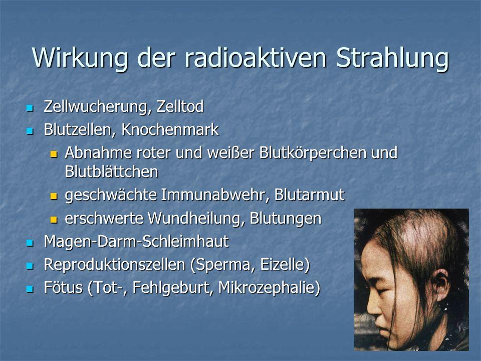 Wirkung der radioaktiven Strahlung Zellwucherung, Zelltod Zellwucherung, Zelltod Blutzellen, Knochenmark Blutzellen, Knochenmark Abnahme roter und wei