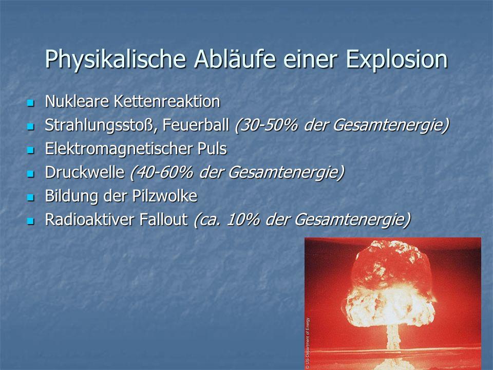 Strahlenkrankheit (Hiroshima) Gray (Gy) Wirkung 0,001 Gy (1 mSv/Jahr) Gesetzliche Höchstgrenze Normalbürger 0,02 Gy (20 mSv/Jahr) Gesetzliche Höchstgrenze Nuklearindustrie 2 km Entfernung 1 – 2 Gy Leichte Strahlenkrankheit: Übelkeit, Ermüdung, erhöhte Infektionsgefahr (bei 10% tödlich) 2 – 4 Gy Schwere Strahlenkrankheit: Haarausfall, Verlust weißer Blutkörperchen, Blutungen, Durchfall (bis 50% tödlich) 1 km Entfernung 4 - 20 Gy Akute Strahlenkrankheit: Dehydrierung, zerstörtes Knochenmark (100% Tod) Ab 20 Gy Versgagen des Zentralen Nervensystems, Koma, Tod 30 Gy 0,5 km Entfernung > 100 Gy Zentrum