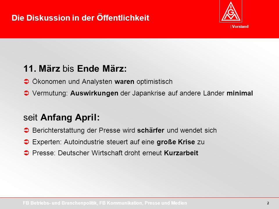 Vorstand FB Betriebs- und Branchenpolitik, FB Kommunikation, Presse und Medien 2 11.