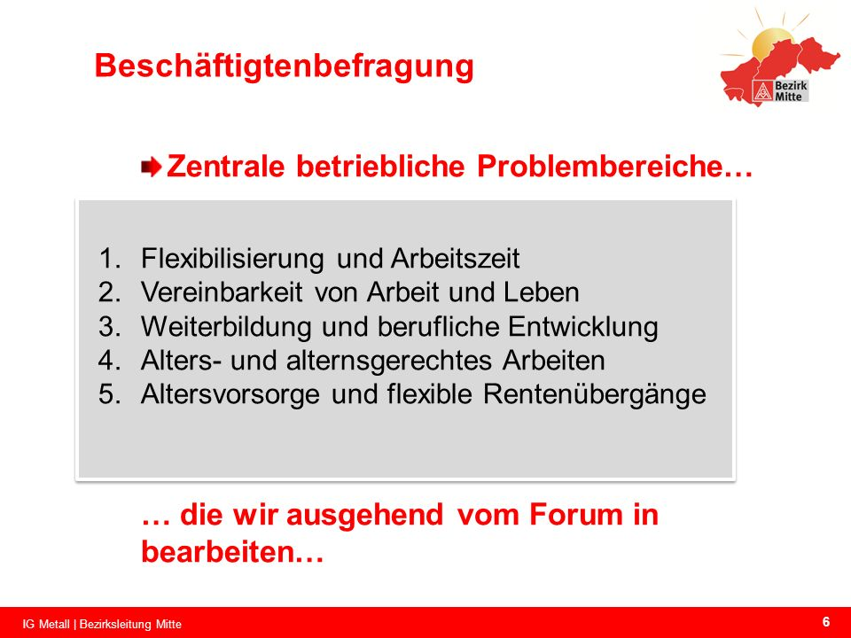 Beschäftigtenbefragung Zentrale betriebliche Problembereiche… 1.Flexibilisierung und Arbeitszeit 2.Vereinbarkeit von Arbeit und Leben 3.Weiterbildung