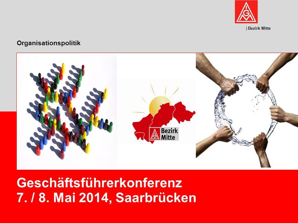 Bezirk Mitte Organisationspolitik Geschäftsführerkonferenz 7. / 8. Mai 2014, Saarbrücken