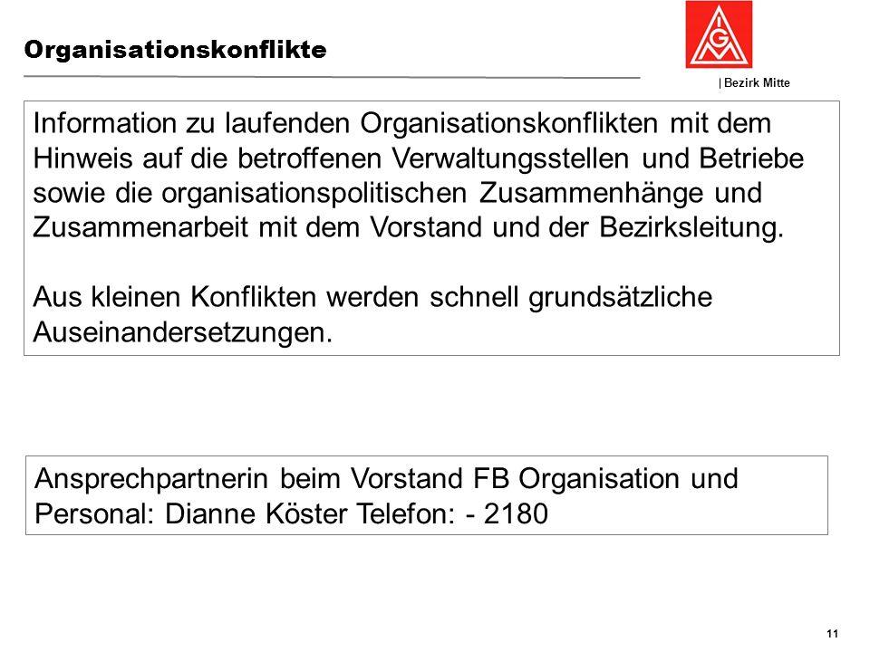Bezirk Mitte GFK 19./20:November 2013, Nierstein Organisationskonflikte 11 Information zu laufenden Organisationskonflikten mit dem Hinweis auf die be