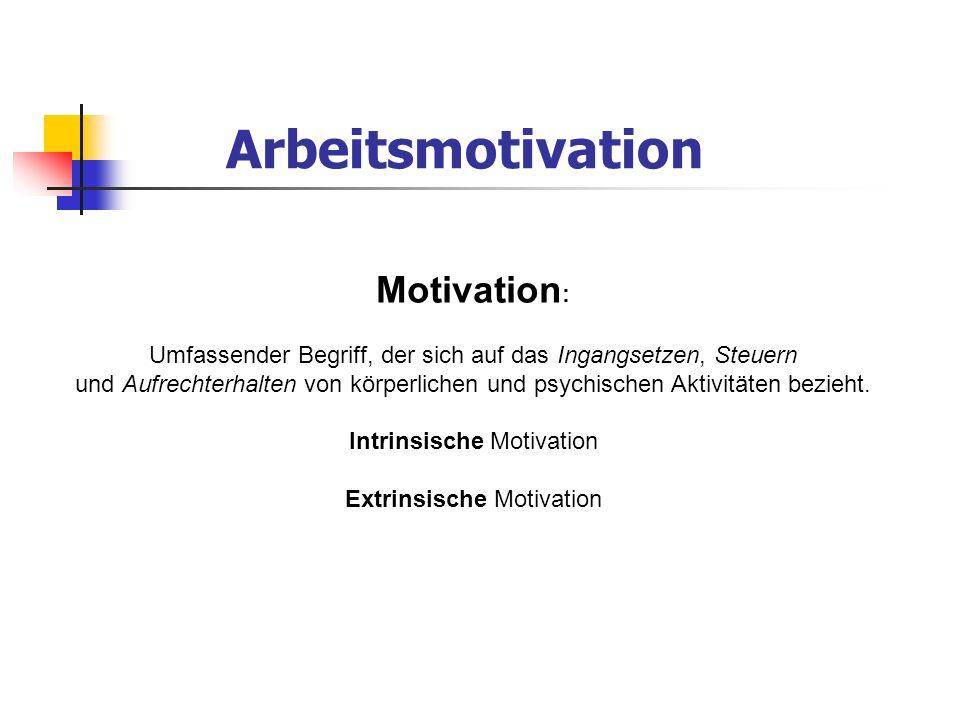 Arbeitsmotivation Motivation : Umfassender Begriff, der sich auf das Ingangsetzen, Steuern und Aufrechterhalten von körperlichen und psychischen Aktiv