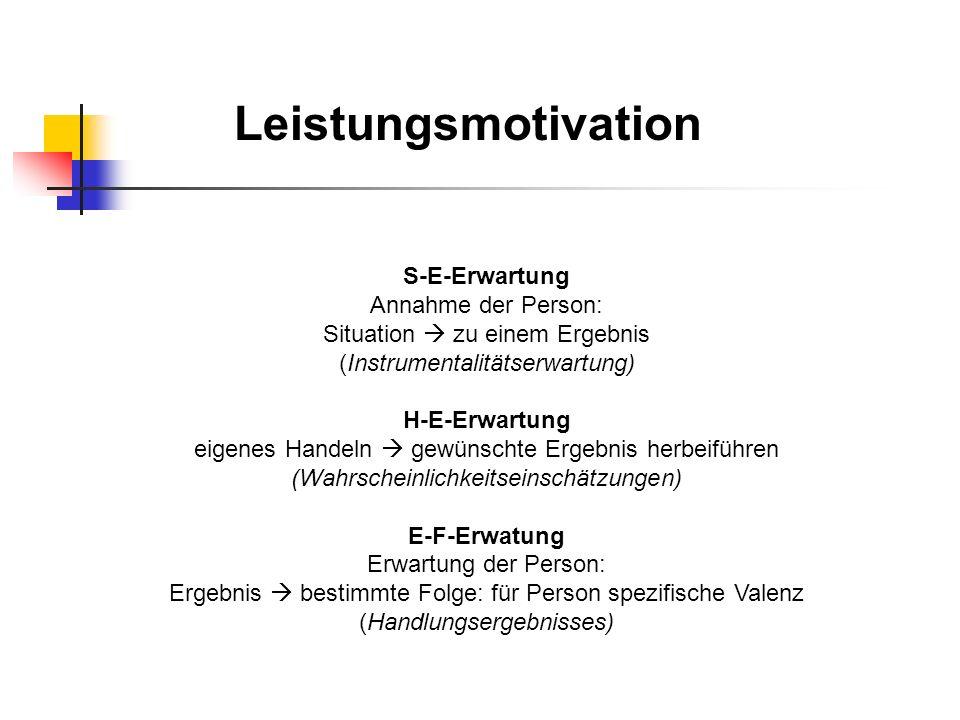 Leistungsmotivation S-E-Erwartung Annahme der Person: Situation zu einem Ergebnis (Instrumentalitätserwartung) H-E-Erwartung eigenes Handeln gewünscht