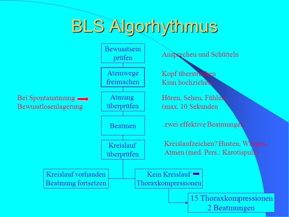 Basic Life Support (BLS) A- Atemwege freimachen und freihalten – Manuelles Ausräumen – Absaugen – Kopf überstrecken / Guedel Tubus einlegen B- Beatmun