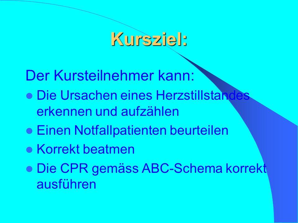 Kursziel: Der Kursteilnehmer kann: Die Ursachen eines Herzstillstandes erkennen und aufzählen Einen Notfallpatienten beurteilen Korrekt beatmen Die CPR gemäss ABC-Schema korrekt ausführen