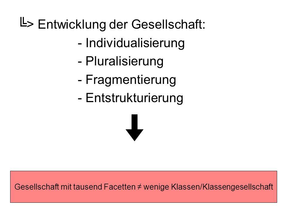 > Entwicklung der Gesellschaft: - Individualisierung - Pluralisierung - Fragmentierung - Entstrukturierung Gesellschaft mit tausend Facetten wenige Kl
