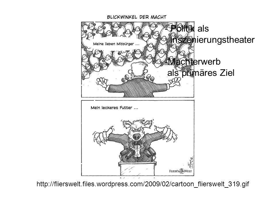 http://flierswelt.files.wordpress.com/2009/02/cartoon_flierswelt_319.gif - Politik als Inszenierungstheater -Machterwerb als primäres Ziel