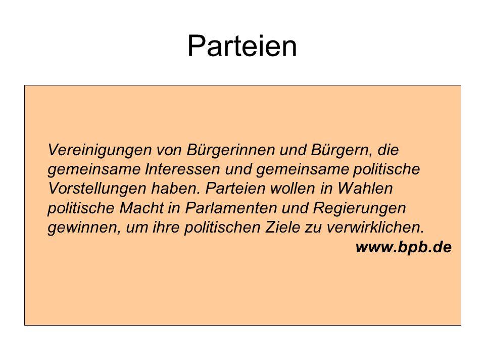 Parteien Vereinigungen von Bürgerinnen und Bürgern, die gemeinsame Interessen und gemeinsame politische Vorstellungen haben. Parteien wollen in Wahlen