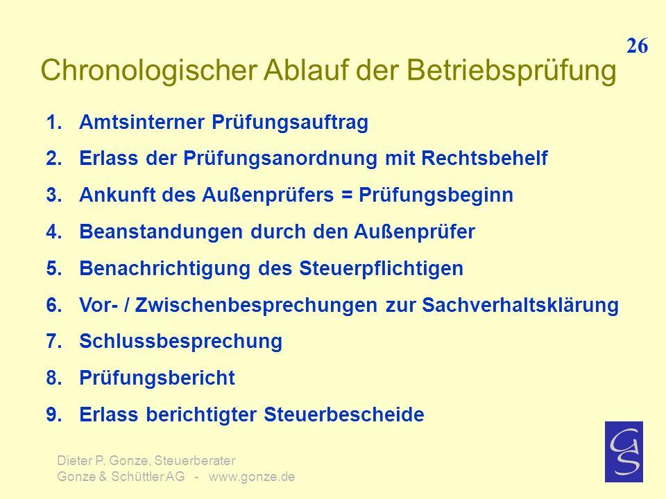 Chronologischer Ablauf der Betriebsprüfung 26 Dieter P. Gonze, Steuerberater Gonze & Schüttler AG - www.gonze.de 1.Amtsinterner Prüfungsauftrag 2.Erla
