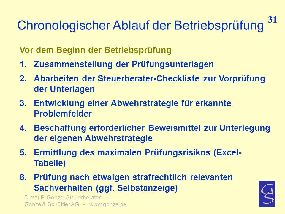 Chronologischer Ablauf der Betriebsprüfung 31 Dieter P. Gonze, Steuerberater Gonze & Schüttler AG - www.gonze.de Vor dem Beginn der Betriebsprüfung 1.