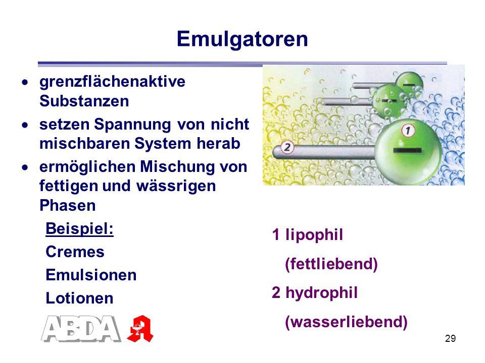 29 Emulgatoren grenzflächenaktive Substanzen setzen Spannung von nicht mischbaren System herab ermöglichen Mischung von fettigen und wässrigen Phasen