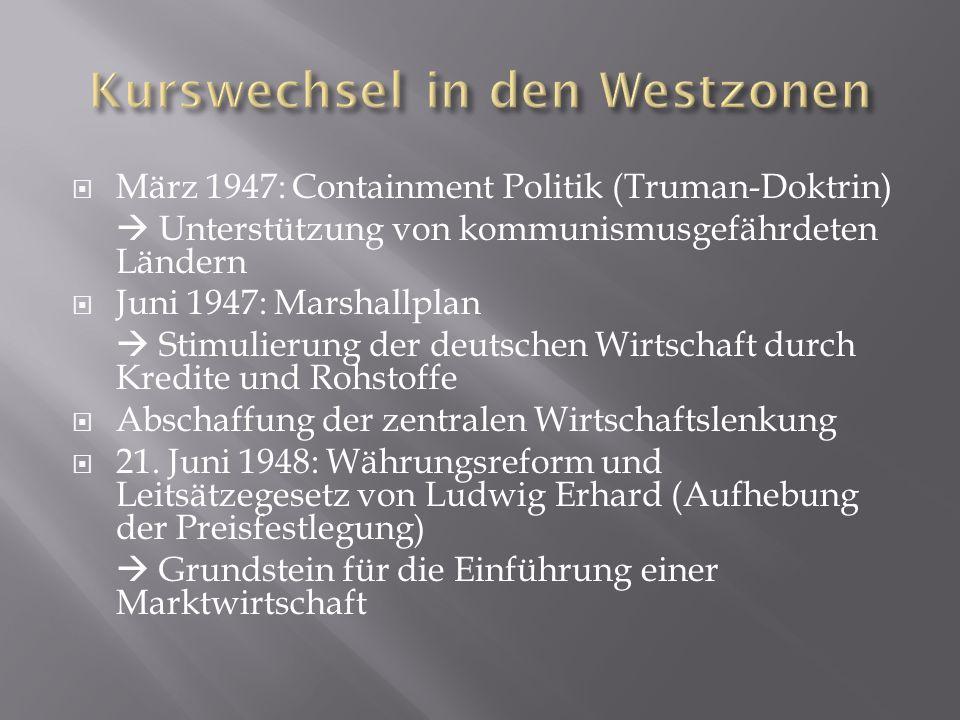 März 1947: Containment Politik (Truman-Doktrin) Unterstützung von kommunismusgefährdeten Ländern Juni 1947: Marshallplan Stimulierung der deutschen Wirtschaft durch Kredite und Rohstoffe Abschaffung der zentralen Wirtschaftslenkung 21.