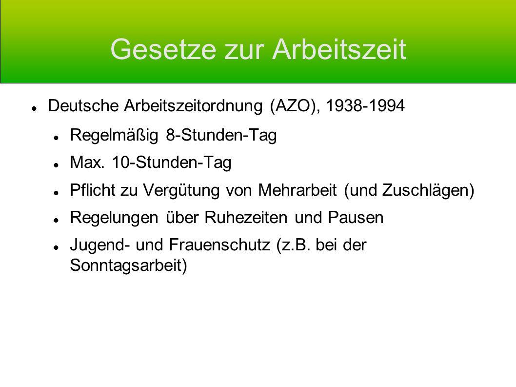 Gesetze zur Arbeitszeit Deutsche Arbeitszeitordnung (AZO), 1938-1994 Regelmäßig 8-Stunden-Tag Max. 10-Stunden-Tag Pflicht zu Vergütung von Mehrarbeit