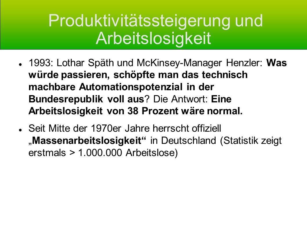 Produktivitätssteigerung und Arbeitslosigkeit 1993: Lothar Späth und McKinsey-Manager Henzler: Was würde passieren, schöpfte man das technisch machbar